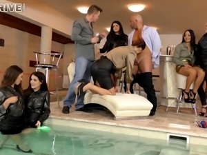 A pool party starts with drinks and becomes a wet, wild orgy