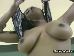 Big black tits having fun on casting