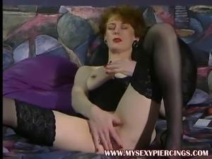 Pierced MILF heidy fisting her asshole Body piercings retro