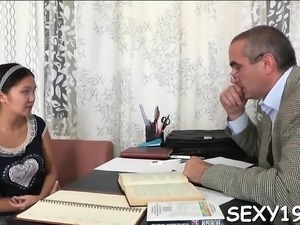 Elderly teacher is having fun fucking young babe's muff