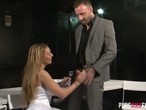 Light haired MILF bride Stacey Saran got her luxury dress lifted and her...