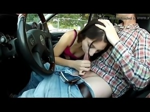 Blowjob While Driving In The Car