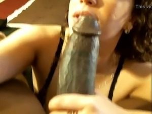 Hot girl sucking big black dick