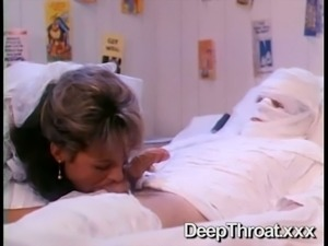 Cock hungry blonde bride provides her bandaged groom with blowjob