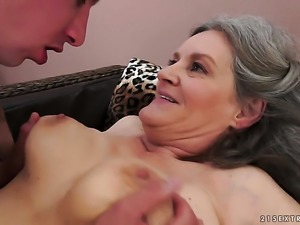 With huge tits shows her wet hole to