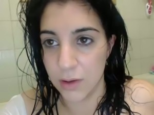 Awesome web cam all naked babe in white shirt had fun in the bathroom