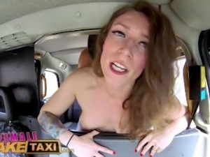 FemaleFakeTaxi Sexy male stripper cums in filthy cab drivers mouth