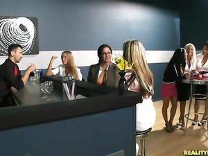 Redhead chica Ava Addams is curious about giving handjob