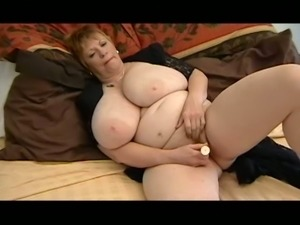 Mature amateur pale skin BBW lady with enormous breasts