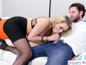 Horny and fine blonde babe with gorgeous ass sucks cock on the couch