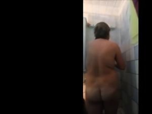 my mom 56 enjoys a soapy hot shower