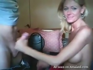 Hot and horny amateur blonde lady giving head on webcam