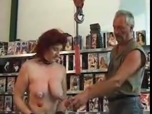 Pierced mature slave with piercings used and hard fucked