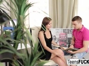Russian teen Evgenia gets cum on her pretty face