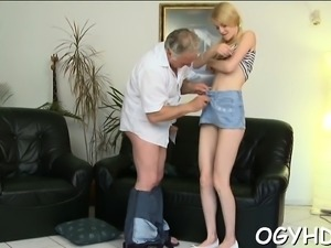 Steaming young chick deepthroats old lad gets cunt licked