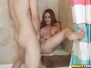 Mature with massive knockers and clean snatch shows off her sexy body as she...