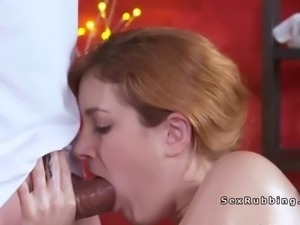 Brown haired babe bangs masseurs cock