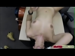 Brazilian gets her shaved pussy priced at the shop