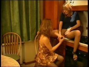 LEZDom Sex toy on pantyhose