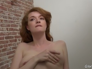 Redhead lean white chick undresses in the gloryhole for some fame