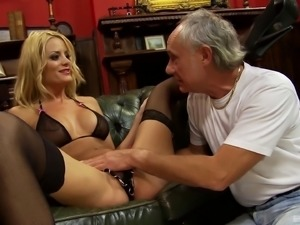 Stunning blonde opens her legs for a horny mature man