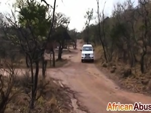 Interracial POV blowjob with African