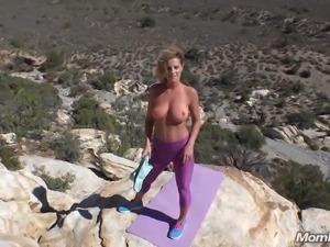 Busty Yoga MILF Fucks Cock Outdoors