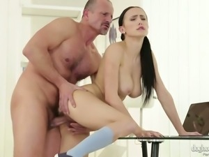 Busty and beautiful brunette cutie groped and fucked by a mature guy