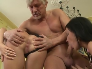 Buxom brunette gets a cumshot after getting fucked hardcore in a wild old vs...