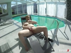 real monster breast BBW Milf licks her nipples and masturbating at the...