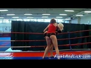 Eurobabes enjoy facesitting after wrestling