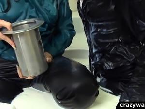 Hot wetlook milk bath