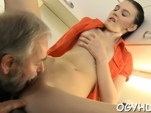 Horny young sweetie likes every inch of old schlong in pussy