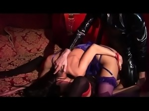 Lisa and Ciara orgasm fucking mystery man in latex outfit