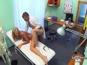 Hot blonde fucks with doctor in hospital