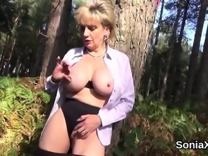 Adulterous english milf lady sonia shows off her huge tits
