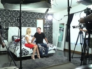 Two magnificent blonde beauties from porn industry at the interview