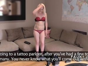 Flat chested blonde bangs fake agent uk