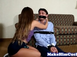 Cuckolding beauty banged on the couch