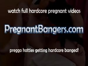 Pregnant Latina eating puss