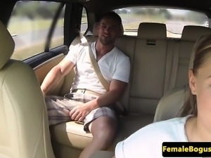 Curvy euro cabbie pounded on public backseat
