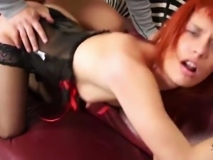 ShootOurSelf - Latex redhead lick loads of cum from her tits