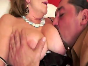Busty grandma in stockings gets slammed hard