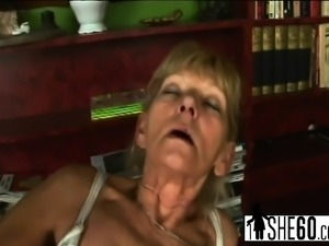 Dude drills hairy pussy of an old slut
