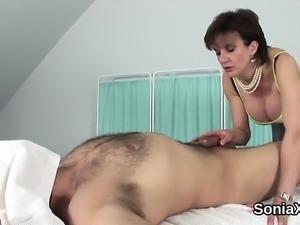Unfaithful english mature lady sonia displays her massive ju