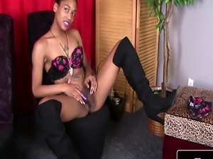 Petite ebony femboy loves to masturbate