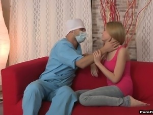 Cum thirsty patient Ira gets fucked by her doctor at home