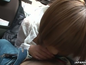 Oriental floozy Tsubasa Miyashita is sucking her lover's dick in his car