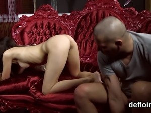 Cuddly sweetie opens up narrowed cunt and gets deflowered