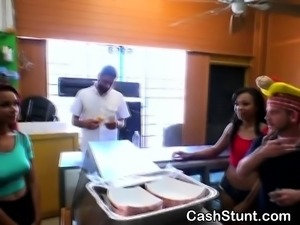 Wild Brunette On Her Knees Sucking Dick At Money Talks Stunt